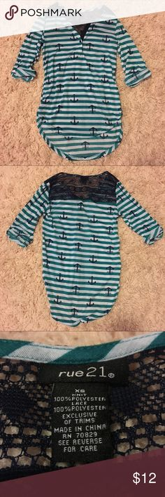 Rue 21 High Low Shirt Never worn, NWOT. There is a button that can be done and undone on the v neck and buttons on the sleeves can be undone to make sleeves longer. Rue 21 Tops