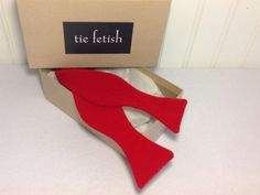 Red velvet self tie pre tied bow tie sale diamond tip