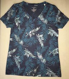 NWOT Ladies Short Sleeve Shirt Basic Tee Navy w/Palm Leaves by Sonoma Size XS #Sonoma #BasicTee