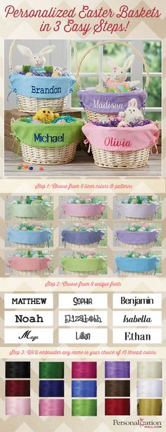 LOVE these Personalized Easter Baskets! They're willow Easter Baskets that come with your choice of 9 basket liner colors and patterns which they will embroider with any name for free in your choice of 9 font styles and 15 thread colors! The possibilities are endless! I just love these traditional Easter Baskets!