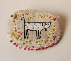 Screen printed and hand painted Doggy Brooch with by hensteeth, £22.00
