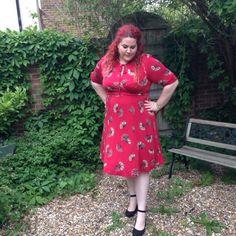 Curves & Curls: Total Fan Girl: Review of Scarlett and Jo Fan Print Dress
