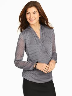 Talbots - Sparkle Clipped-Dot Wrap Blouse | New Arrivals |