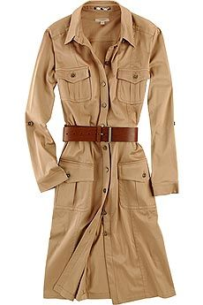 Loose safari style coat; good with a long  skirt or fitted pants.