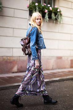 denim jacket & printed skirt