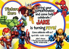 Super Hero Squad Birthday Invitation 5x7 or by VIVICoutureDesigns, $12.00    www.vivicouturedesigns.etsy.com