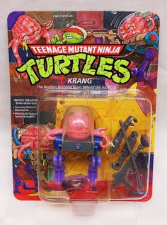 VINTAGE PLAYMATES TMNT KRANG MOC UNPUNCHED 1989 NICE DEFINITELY AFA GRADABLE