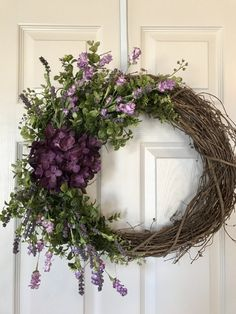 Grapevine Wreath with Large Hydrangeas, Wildflowers,Artificial Greenery, a… - New Deko Sites Wreath Crafts, Diy Wreath, Grapevine Wreath, Wreath Ideas, Spring Front Door Wreaths, Holiday Wreaths, Spring Wreaths, Purple Wreath, Floral Wreath