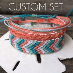 Design your own custom Pura Vida Style Bracelet set! Custom Waterproof Friendship Bracelet by WristsAre4Bracelets