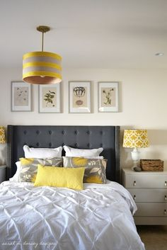 Yellow + Gray Bedroom...have wanted to do this for a long time...but with black and gray walls. with LOVE in yellow on main wall.