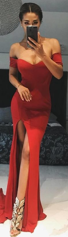 #winter #outfits red off-shoulder front slit long dress