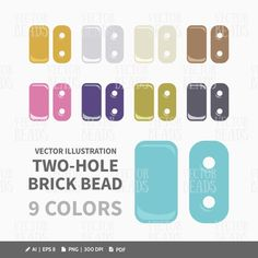 Czech Two-Hole Brick Bead Clip Art Set  Beads by VectorBeads