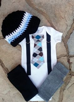 Baby Boy Tie Bodysuit with Suspenders Crocheted Hat and Leg Warmers GET THE SET - Argyle, Coming Home Outfit, Photo Prop, Baby Shower
