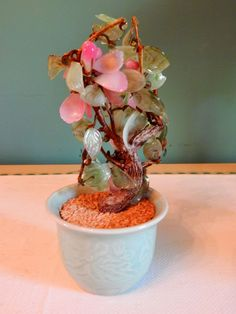 Vintage Small Pink Green Jade Glass Tree Bonsai Cherry Blossom Flower Oriental