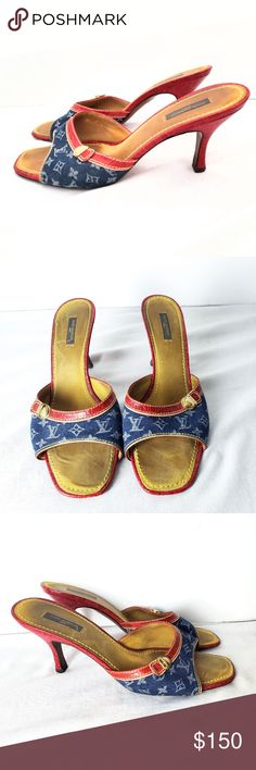26a8515aaa0 Louis Vuitton LV Monogram Denim Slide Mules Size 8 Louis Vuitton Slide  Mules feature a blue denim monogram upper fabric with red embossed leather  trim and ...