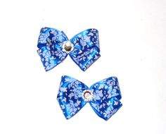 Oriental Blue Dog Hair bows in Pairs SALE