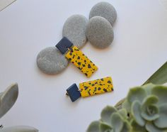 Yellow blue earrings / Handmade funky polymer clay jewelry /