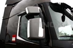 Applicazioni  specchio retrovisore in accciaio inox super mirror (aisi 304) per Renault T. Il kit comprende otto pezzi (quattro lato sinistro e quattro lato destro) ed è completo di bi-adesivo per il fissaggio. Per una corretta applicazione segui le ISTRUZIONI DI MONTAGGIO.