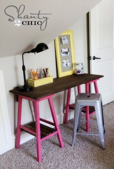 DIY table/desk using barstools- what a money saver! Click on the link for other variations of the same concept.