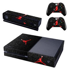 [Visit to Buy] #Advertisement Removable Basketball Legend Michael Jordan Red Air Vinyl Cover Xboxone Skin Sticker For Xbox One Console & 2 Controller & Kinect