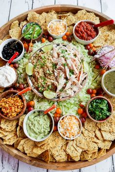 """For casual hosting, serve a Chicken Taco Bowl Board, with chicken and rice. Serve your favorite """"taco"""" toppings. Charcuterie Recipes, Charcuterie And Cheese Board, Cheese Boards, Party Food Platters, Food Trays, Taco Dinner, Taco Bowls, Chicken Tacos, No Cook Meals"""