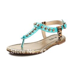 JUMEX 2014 new summer flat with rivets flat sandals Roman sandals fashion leopard flip open-toed shoes comfortable $1 208,35