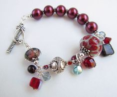 Red Boro Beaded Lampwork Bracelet Handmade by by Harleypaws, $125.00