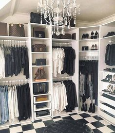 Black and white walk-in closet Chandelier # dressing room # accessible . - Black and white walk-in closet Chandelier # dressing room # walk-in closet # walkinclo … - Walk In Closet Design, Bedroom Closet Design, Master Bedroom Closet, Closet Designs, Bedroom Closets, Diy Walk In Closet, White Closet, Simple Closet, Boy Bedrooms