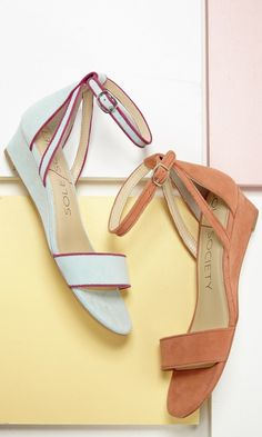 Suede mini wedge sandals with an ankle strap