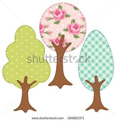 Set of three trees as retro textile applique of various fabrics in shabby chic style