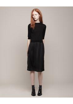 Carven Bi-Fabric Dress. All black outfit #minimalist #fashion #style