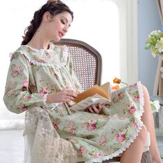 Lovely Princess Floral Nightdress Female Full Sleeve Pure Cotton Nightgowns Lace Flower Knee-length Women Sleepshirts Yc15013