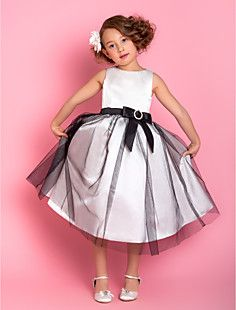 A-line Jewel Tea-length Satin And Tulle Flower Girl Dress (7... – USD $ 89.99