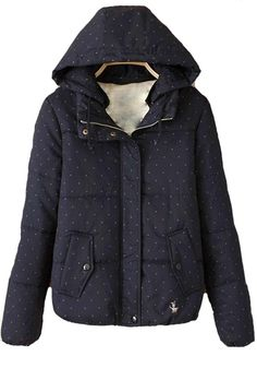 Navy Blue Floral Pockets Cotton Blend Wool Coat - Outerwears - Tops