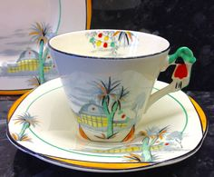 "Burleigh Ware Imperial Shape ""Spa"" Pattern Tea Cup Trio   eBay China Patterns, Tea Cup Saucer, Queen Anne, Teacups, Tea Time, Tea Party, Pots, Art Deco, Porcelain"