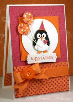 Stampin Up: Owl Builder Punch. A beautiful card! Birthday penguin with balloons. Lovely colours. Click through, the inside is decorated to!