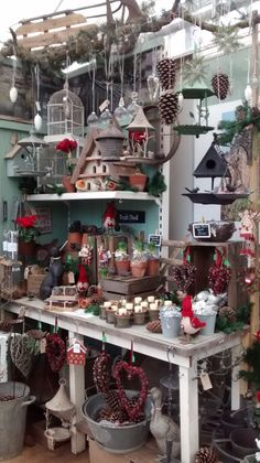 Rustic Christmas display at Longstock Nursery. Hants.