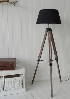 Tripod floor standing lamp. New England style furniture and accessories from The White Lighthouse Furniture - www.thewhitelighthousefurniture.co.uk
