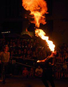 Breathing fire at LAAFF festival in downtown Asheville