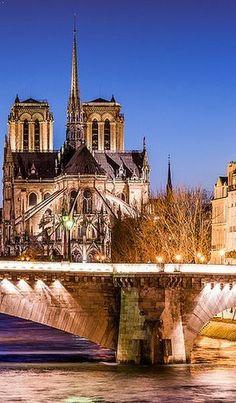 Notre Dame de Paris à l'heure bleue depuis le Pont de Sully, FRANCE