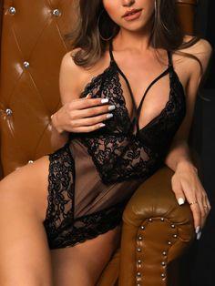 c71217f8e22 Sheer Lace Mesh Insert Teddy Bodysuit Beautiful Lingerie