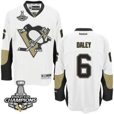 Men's Pittsburgh Penguins #6 Trevor Daley White Road Jersey W/2016 Stanley Cup Champions Patch