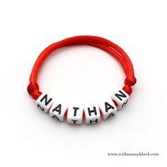 """Bracelet prenom nom message logo initiale surnom """"NATHAN"""" (réversible, personnalisable) homme, femme, enfant, bébé   Fermeture coulissante. Convient à tous les poignets! lettres acryliques 6x6mm sur fil de satin (2 mm.) couleur au choix.  Ce bracelet ne craint pas l'eau.  Vous pouvez toujours le garder sur le poignet (douche, piscine, vaisselles....)  Bracelet est personnalisable!!!"""