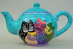 Laurel Burch Iconic Cats Teapot 6 cup