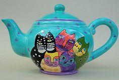 Laurel Burch Iconic Cats Teapot 6 cup