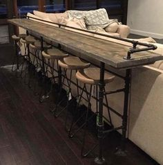 Bar Table behind Couch #diy #furnitureideas #extraseating