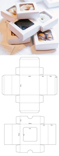 Individual packaging with acetate window for donuts - packaging and more - . Diy Gift Box, Diy Box, Diy Gifts, Paper Crafts Origami, Diy Paper, Box Packaging, Packaging Design, Paper Box Template, Diy Arts And Crafts