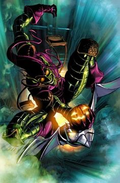 Green Goblin by Mike Deodato Jr Comic Book Villains, Marvel Villains, Marvel Comics Art, Marvel Characters, Marvel Heroes, Comic Books Art, Comic Art, Marvel Avengers, Amazing Spiderman