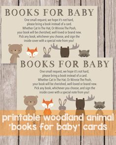 Printable Books For Baby Cards - Woodland Animals Theme - Print It Baby