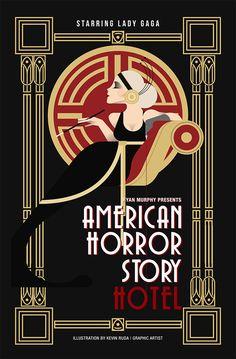 American Horror Story by Kevin Ruda deco kunst, Showcase of 30 Art Deco Inspired Designs and Artworks Art Deco Artwork, Art Deco Paintings, Vintage Paintings, Retro Kunst, Retro Art, Estilo Art Deco, Kunst Poster, Poster Art, Art Posters